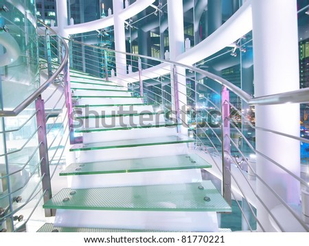 Staircase made by glass - stock photo