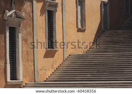 Staircase of ancient building Rome Italy - stock photo