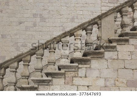 Staircase of St. Francis Basilica in Assisi in Umbria (Italy) - stock photo