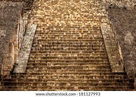 Staircase of The Acropolis. Mayan archeological site of Ek Balam (black jaguar) in Yucatan, Mexico - stock photo