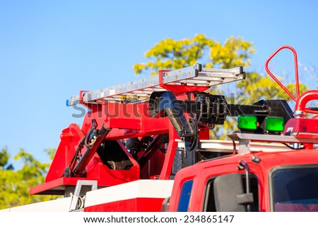 staircase on fire truck - stock photo