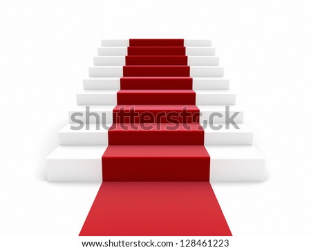 staircase with red carpet Large resolution 3d render - stock photo