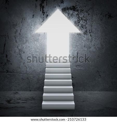 Stairs and magic doors - stock photo