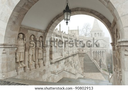 Stairs and statues at Fisherman's Bastion, Budapest, Hungary - stock photo