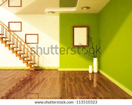 stairs and the vases in the room, rendering - stock photo