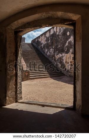 Stairs at Fort San Felipe del Morro, San Juan, Puerto Rico - stock photo
