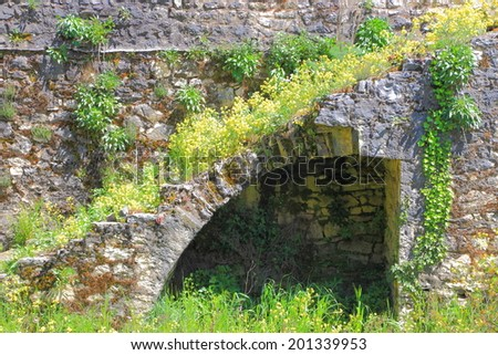 Stairs built above stone arch at the byzantine fortress of Ioanina, Greece - stock photo