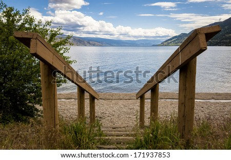 Stairs down to Beach in Summer  - stock photo
