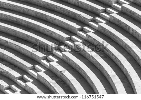 Stairs forming a high contrast black and white pattern - stock photo