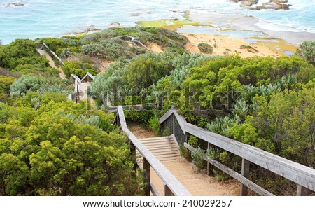 Stairs from Coppins Lookout, Sorrento, Australia - stock photo