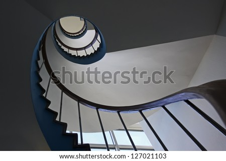 Stairs from the ground floor - stock photo