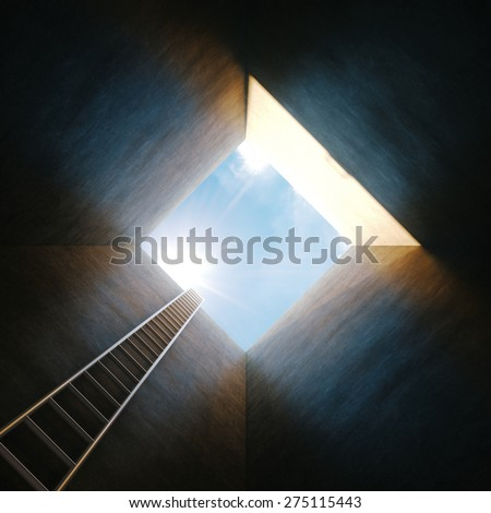 Stairs from tunnel to the light. Conceptual success picture. - stock photo