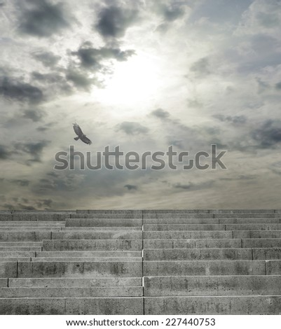 Stairs going up against cloudy sky with bird - stock photo