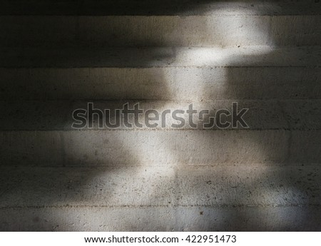 Stairs in a church with mysterious light. - stock photo