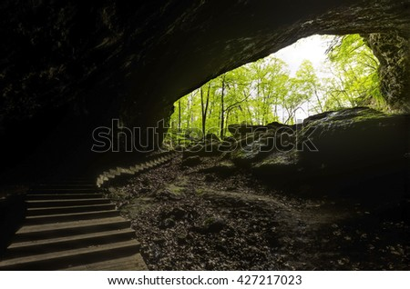 Stairs In Cave Entrance - stock photo