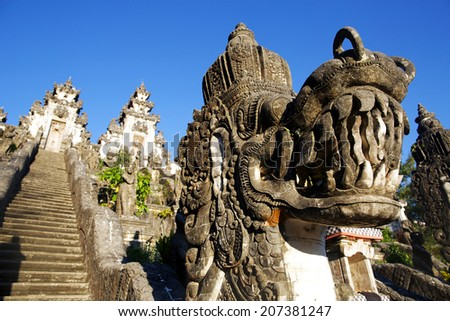 Stairs in Lempuyang temple with dragon statue. Bali, Indonesia - stock photo