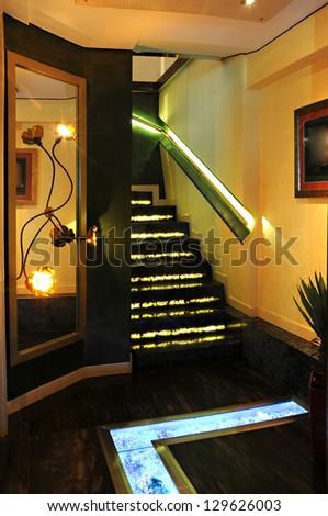 Stairs in modern restaurant - stock photo