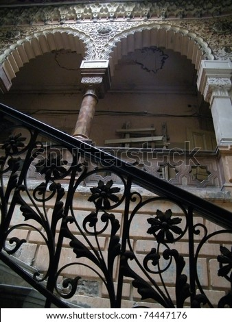 Stairs in old house in historical part of Tbilisi city, Republic of Georgia - stock photo