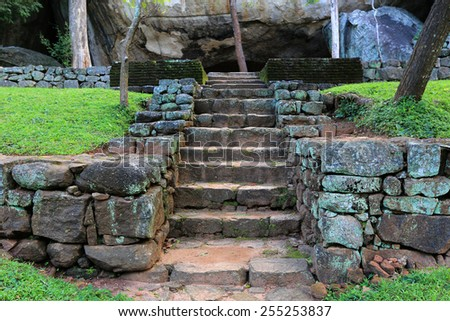 Stairs in old Sigiriya Castle  - stock photo