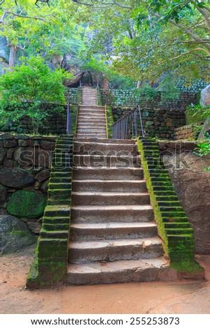 Stairs in old Sigiriya Castle, SriLanka - stock photo