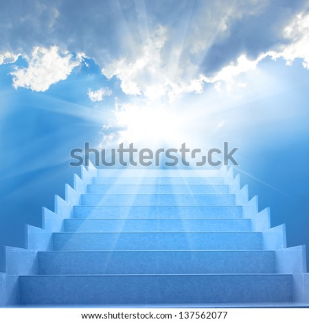 Stairs in sky. Concept with staircase, sun, white clouds and blue background - stock photo