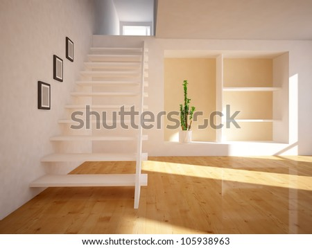 stairs in the empty room - stock photo