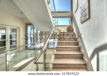 Stairs in the modern villa - stock photo