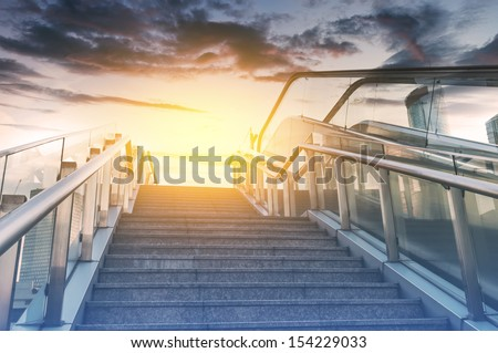 Stairs in the outdoor under the sky, urban abstract landscape - stock photo