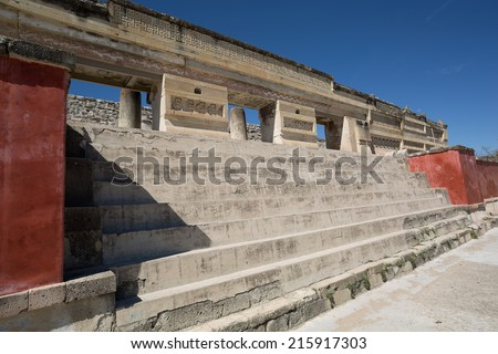 stairs leading to ancient Zapotec temple in Mitla Oaxaca Mexico  - stock photo