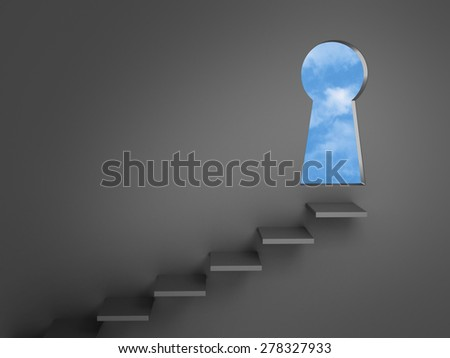 Stairs mounted on a dark gray wall lead to a keyhole-shaped doorway opening to bright, blue skies.  - stock photo