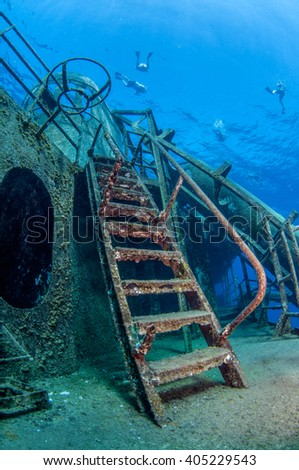 Stairs on the deck of USS Kittiwake, Grand Cayman - stock photo