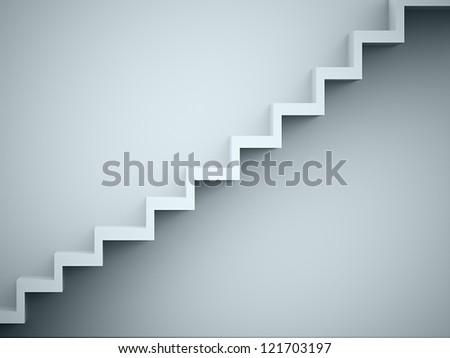Stairs rendered on the wall - stock photo