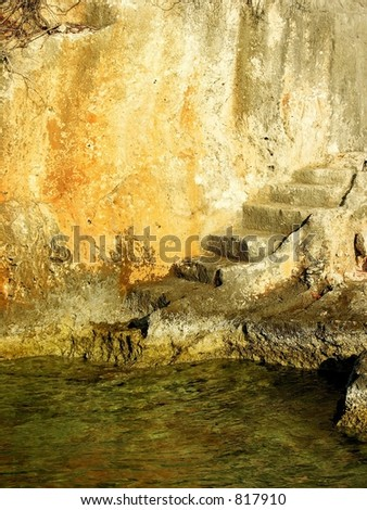stairs steps leaving in water - stock photo
