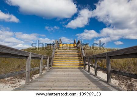 Stairs to heaven, Crane beach, Massachusetts, USA - stock photo