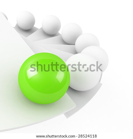 stairs to success leadership conception close-up green - stock photo
