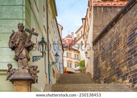 Stairs to the Prague Castle in the Mala Strana, Prague, Czech Republic - stock photo
