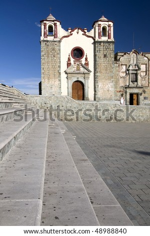 Stairs with a church in the background in Oaxaca, Mexico - stock photo