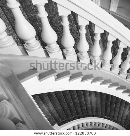 Stairs with balusters. Abstract classical architecture interior fragment - stock photo