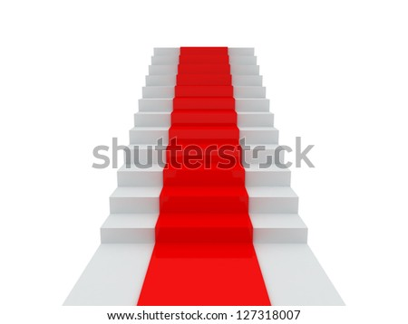 Stairs with red carpet, isolated on white background. - stock photo