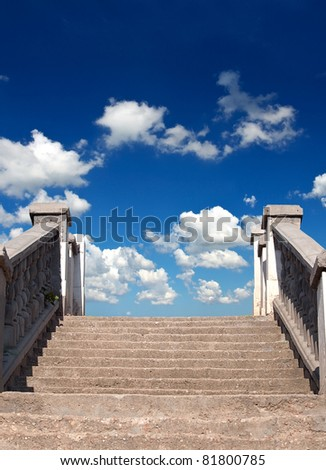 Stairway and bright sky with cloud. Abstract composition - stock photo