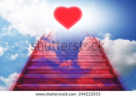 stairway going up to the heart,red color - stock photo