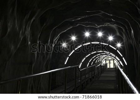 stairway in a salt mine - stock photo