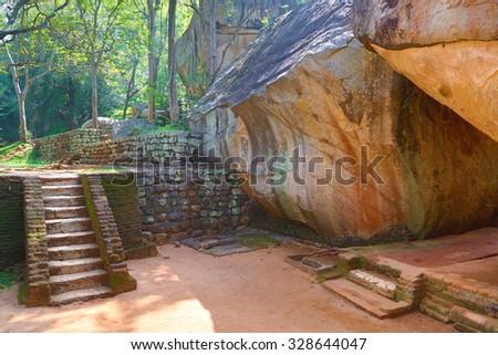 Stairway in Sigiriya Lion Castle, Sri Lanka, HDR image - stock photo