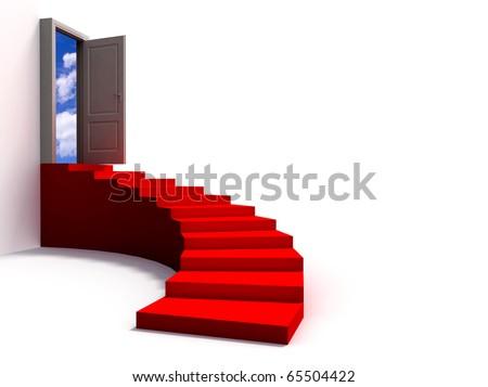 stairway leading to a open door - stock photo