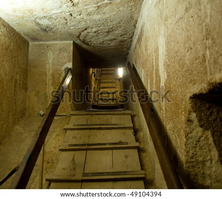 Stairway out of the tomb in the center of a pyramid at Giza near Cairo in Egypt - stock photo