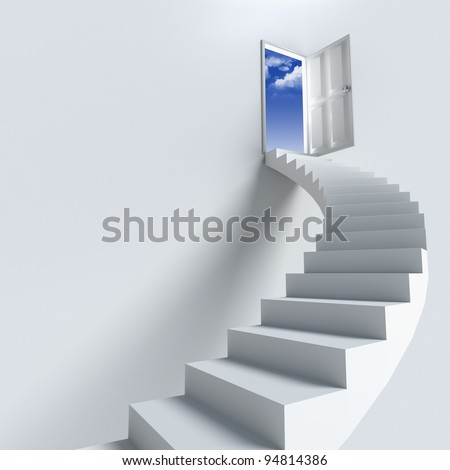 Stairway to heaven as success or achievement - stock photo