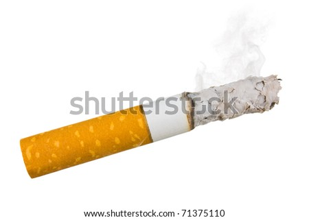 stairway to hell out of cigarettes isolated on a white background - stock photo