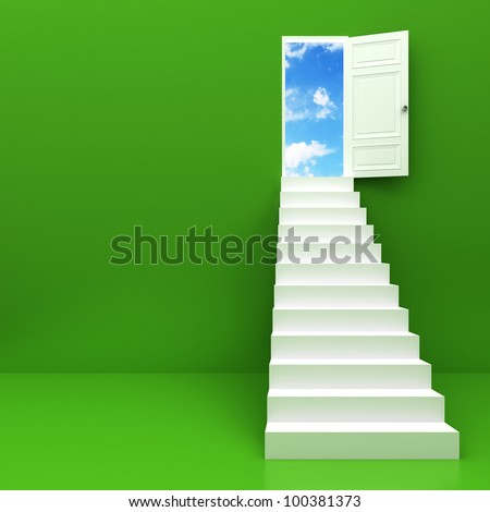 Stairway to the sky, Climbs the ladder of success - stock photo
