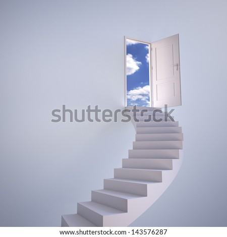 Stairway to the sky , copy space - stock photo