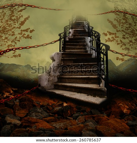 Stairway towards the sky with orange chains. - stock photo